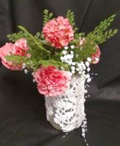 Doily jar center piece