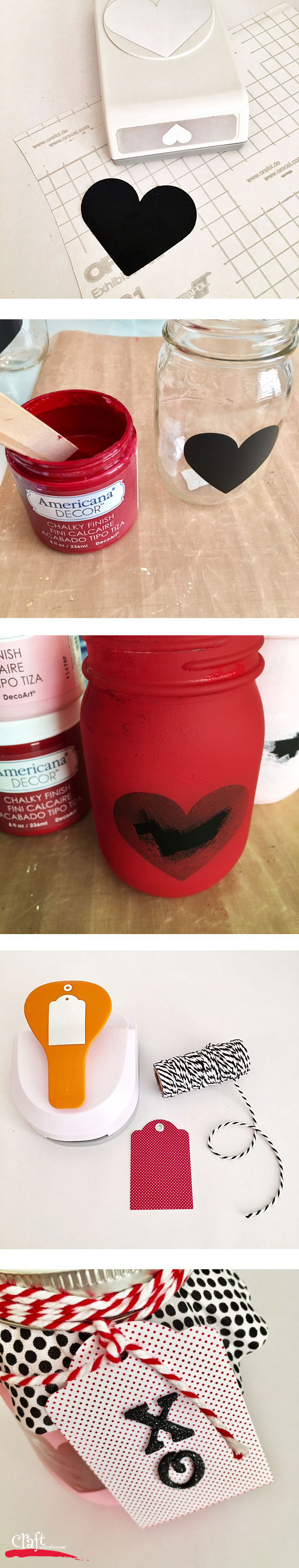 Tutorial on making Vlentines Mason Jar with Chalky Paint