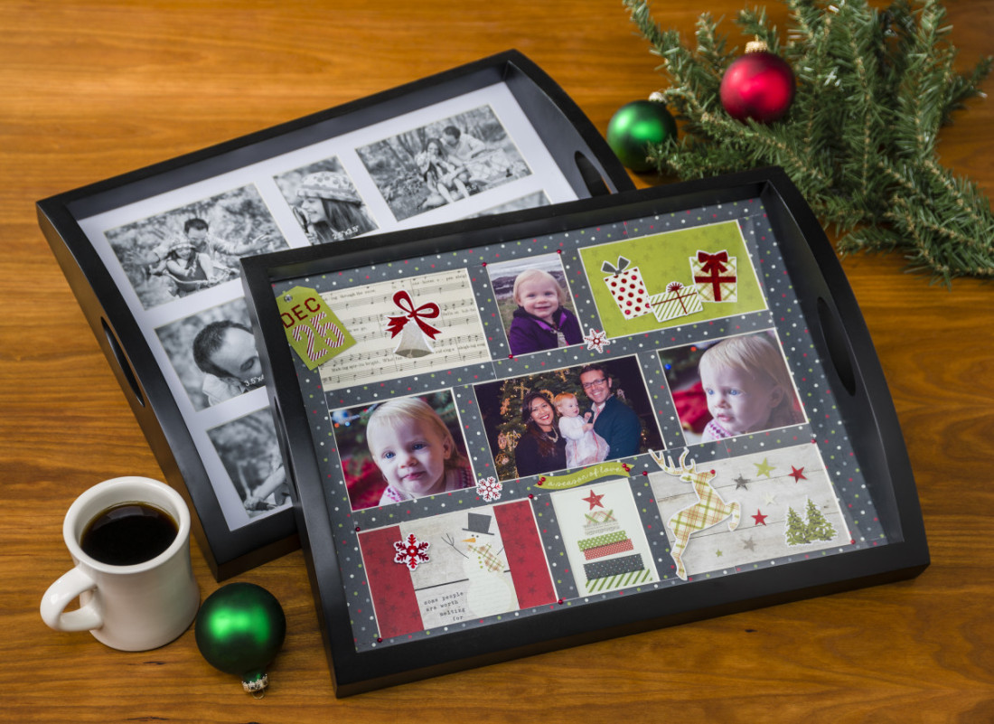 Collage serving tray matting photos
