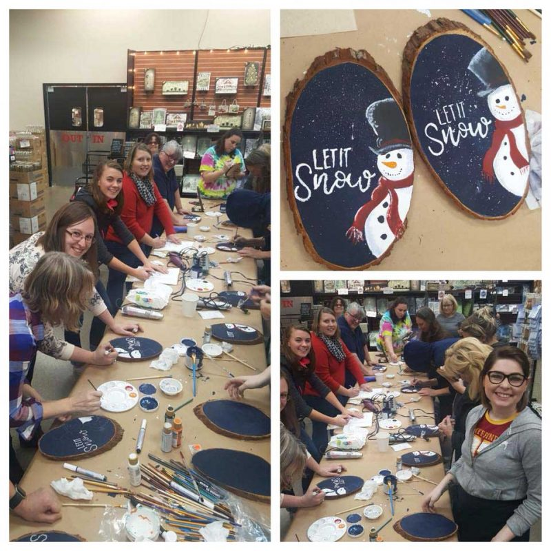 Everyone making a Snowman Plaque